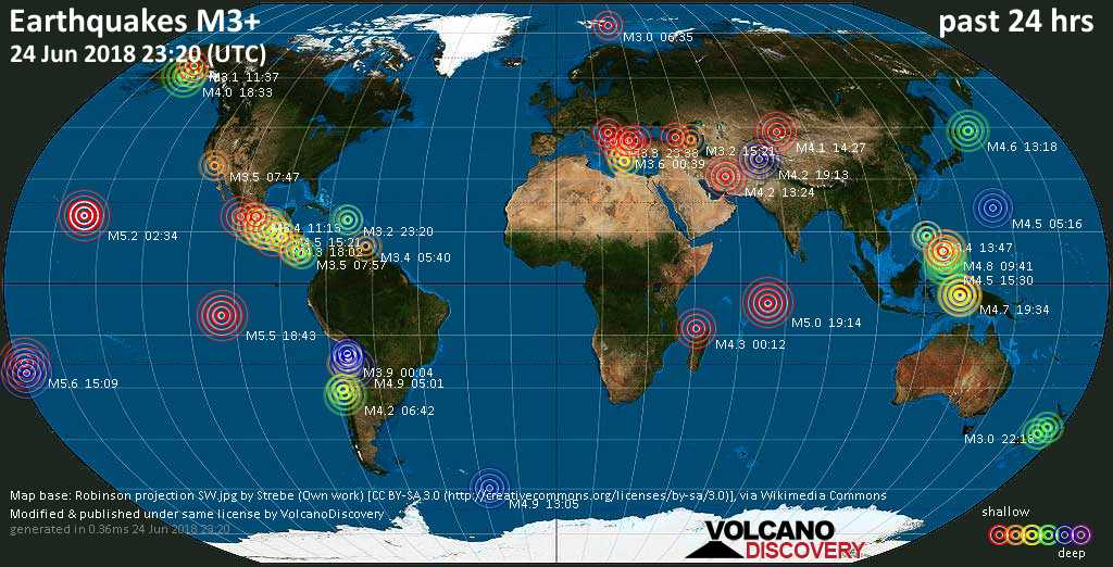 World map showing earthquakes above magnitude 3 during the past 24 hours on 24 Jun 2018