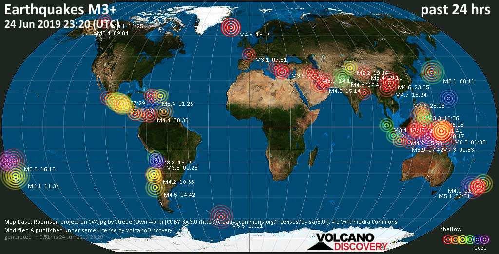 World map showing earthquakes above magnitude 3 during the past 24 hours on 24 Jun 2019