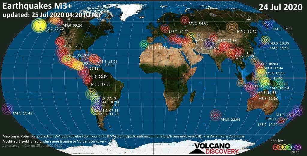 World map showing earthquakes above magnitude 3 during the past 24 hours on 24 Jul 2020