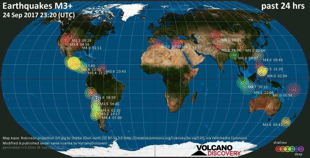World map showing earthquakes above magnitude 3 during the past 24 hours on 24 Sep 2017