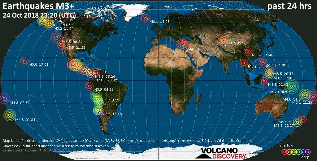 World map showing earthquakes above magnitude 3 during the past 24 hours on 24 Oct 2018