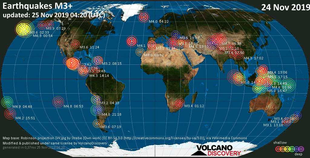World map showing earthquakes above magnitude 3 during the past 24 hours on 25 Nov 2019