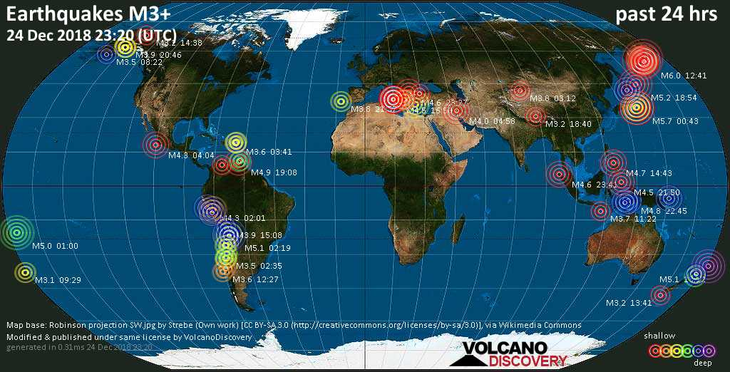 World map showing earthquakes above magnitude 3 during the past 24 hours on 24 Dec 2018