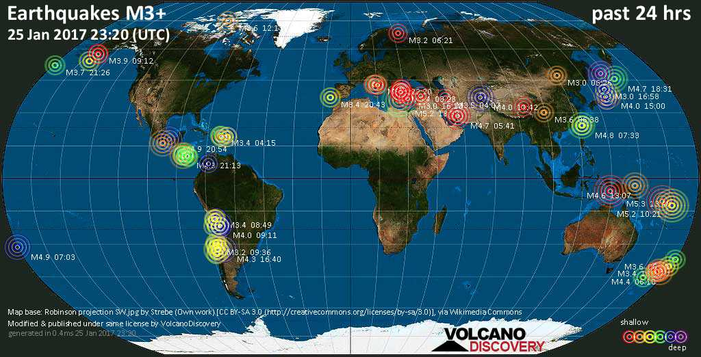 World map showing earthquakes above magnitude 3 during the past 24 hours on 25 Jan 2017