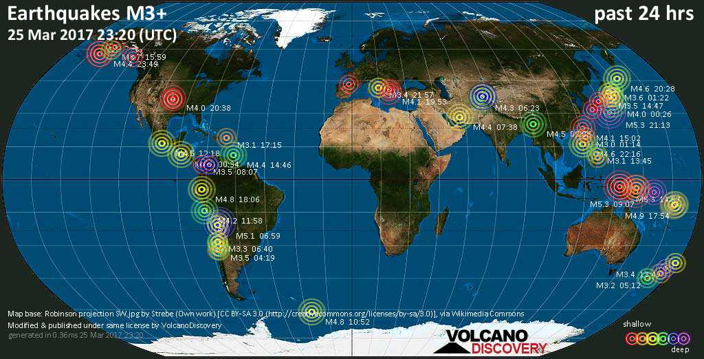 World map showing earthquakes above magnitude 3 during the past 24 hours on 25 Mar 2017