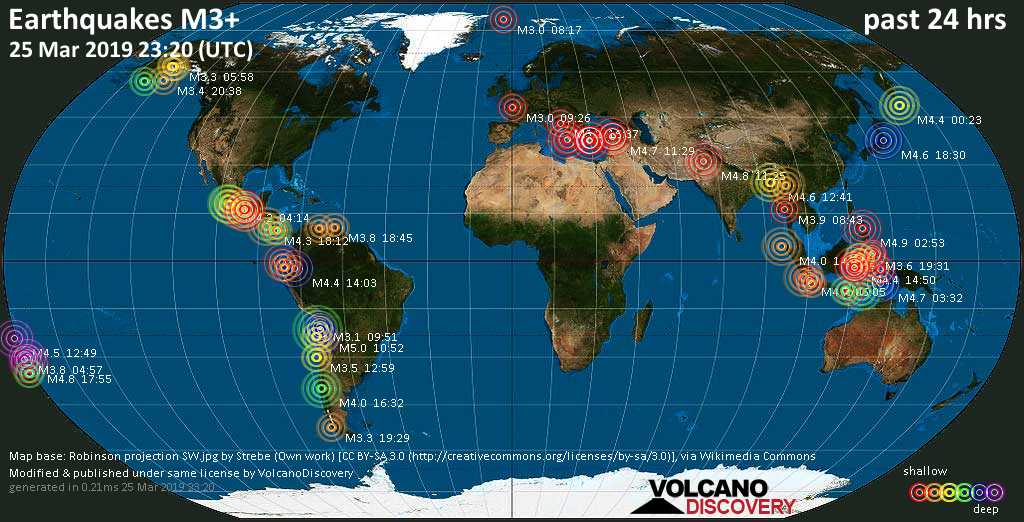 World map showing earthquakes above magnitude 3 during the past 24 hours on 25 Mar 2019