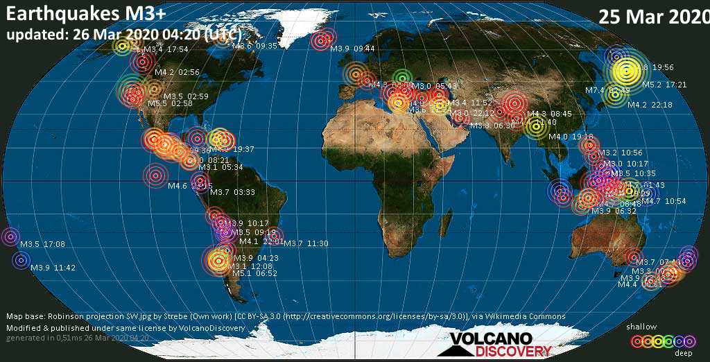 World map showing earthquakes above magnitude 3 during the past 24 hours on 26 Mar 2020