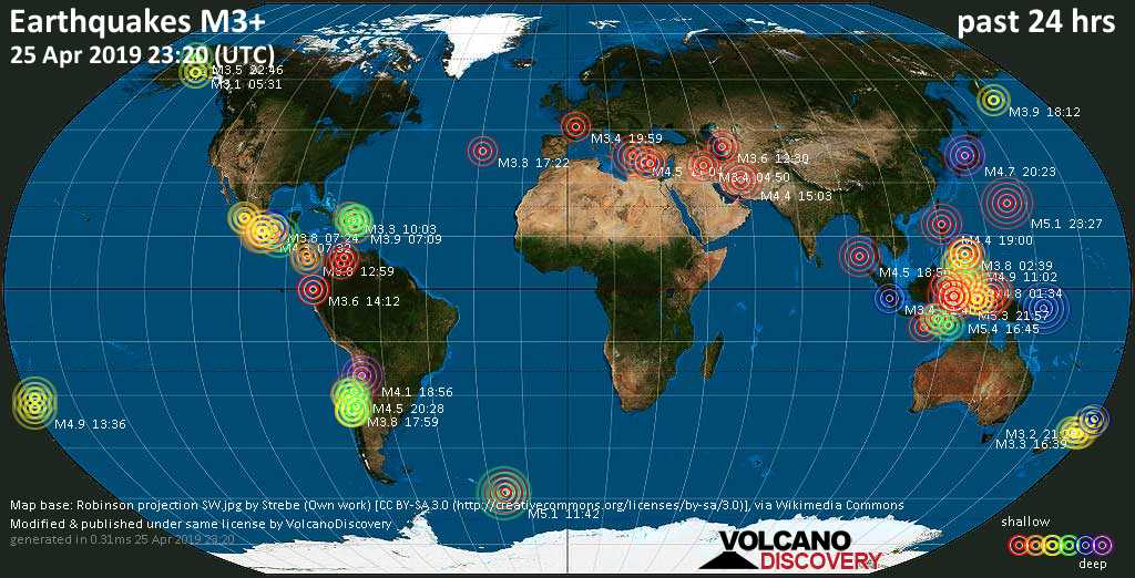 World map showing earthquakes above magnitude 3 during the past 24 hours on 25 Apr 2019