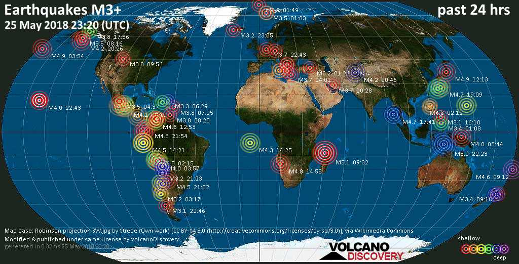 World map showing earthquakes above magnitude 3 during the past 24 hours on 25 May 2018