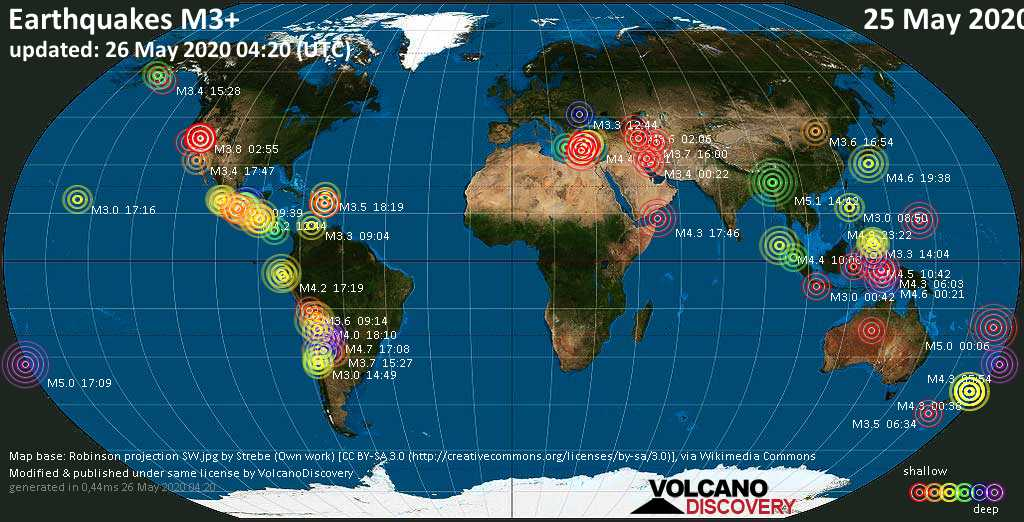 World map showing earthquakes above magnitude 3 during the past 24 hours on 26 May 2020