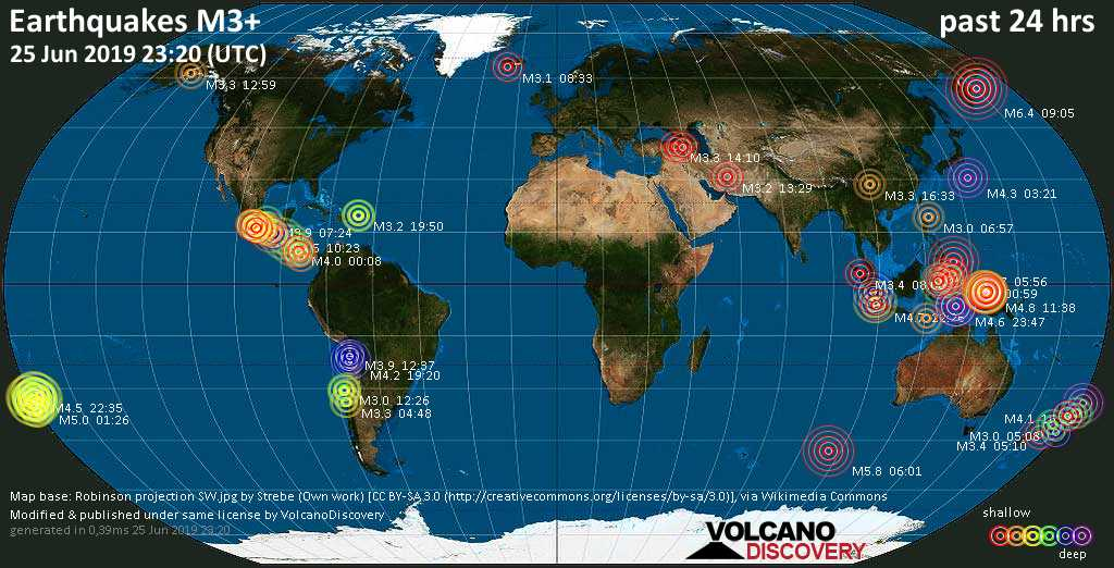 World map showing earthquakes above magnitude 3 during the past 24 hours on 25 Jun 2019