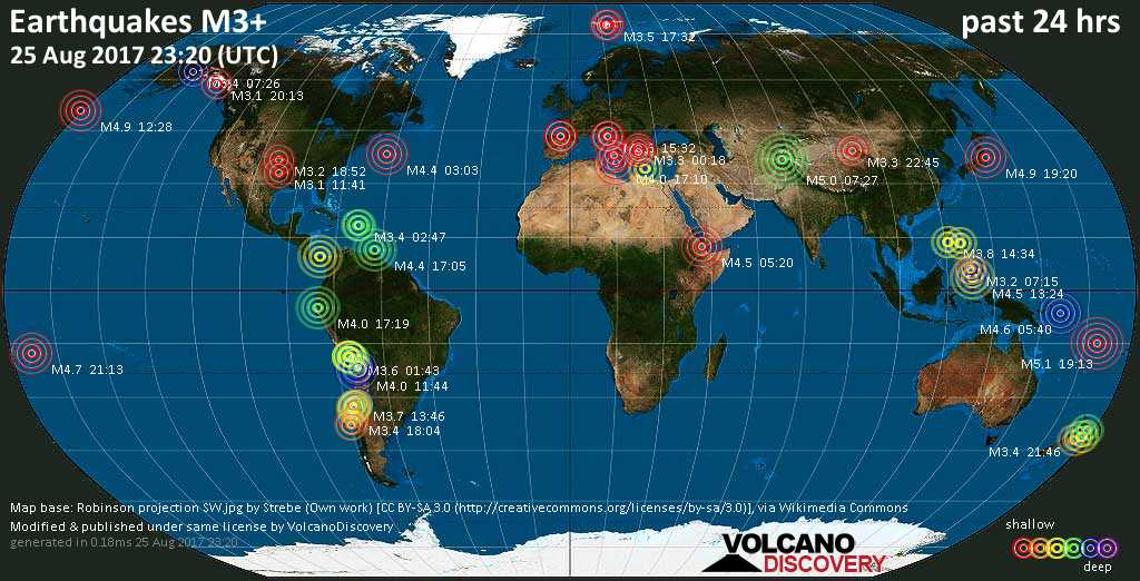 World map showing earthquakes above magnitude 3 during the past 24 hours on 25 Aug 2017