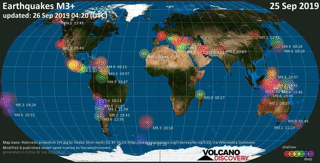 Mappa del mondo che mostra i terremoti sopra la magnitudo 3 nelle ultime 24 ore il 26 septiembre 2019