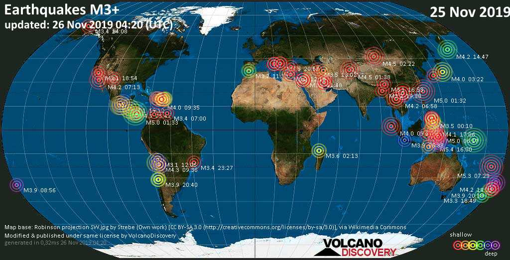 World map showing earthquakes above magnitude 3 during the past 24 hours on 26 Nov 2019