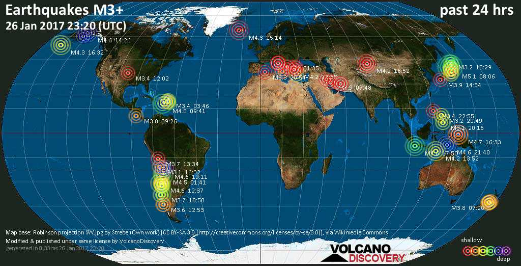 World map showing earthquakes above magnitude 3 during the past 24 hours on 26 Jan 2017