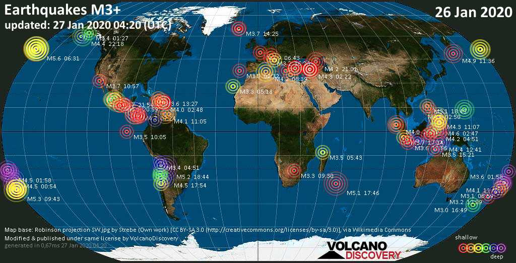 World map showing earthquakes above magnitude 3 during the past 24 hours on 27 Jan 2020