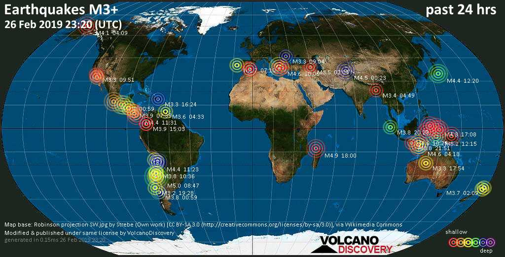World map showing earthquakes above magnitude 3 during the past 24 hours on 26 Feb 2019