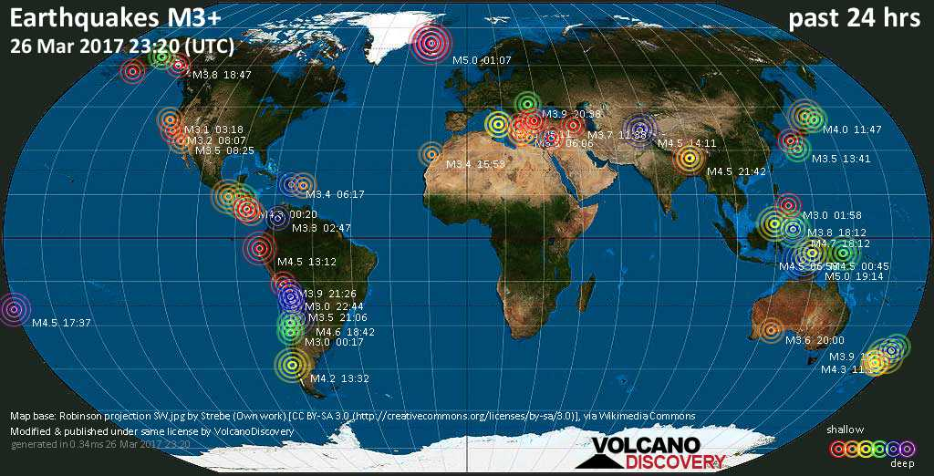 World map showing earthquakes above magnitude 3 during the past 24 hours on 26 Mar 2017