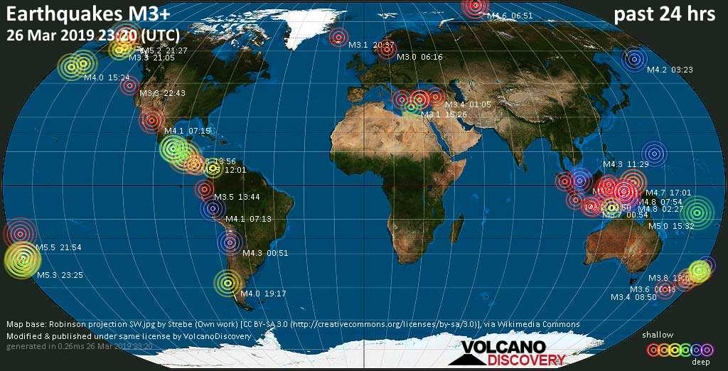 World map showing earthquakes above magnitude 3 during the past 24 hours on 26 Mar 2019