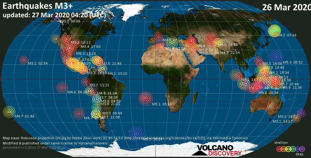 World map showing earthquakes above magnitude 3 during the past 24 hours on 27 Mar 2020