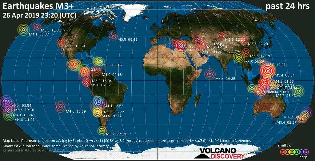 World map showing earthquakes above magnitude 3 during the past 24 hours on 26 Apr 2019