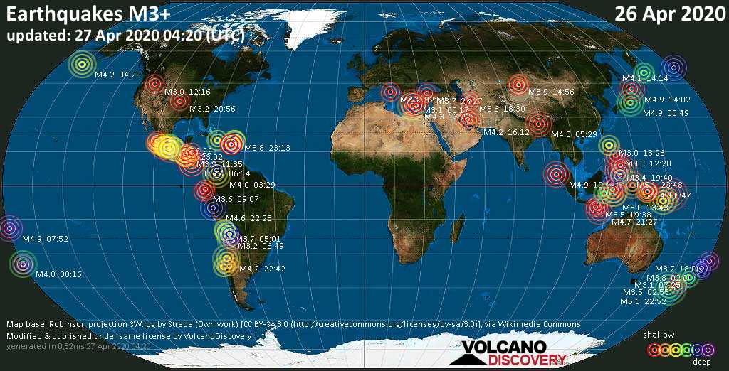 World map showing earthquakes above magnitude 3 during the past 24 hours on 27 Apr 2020