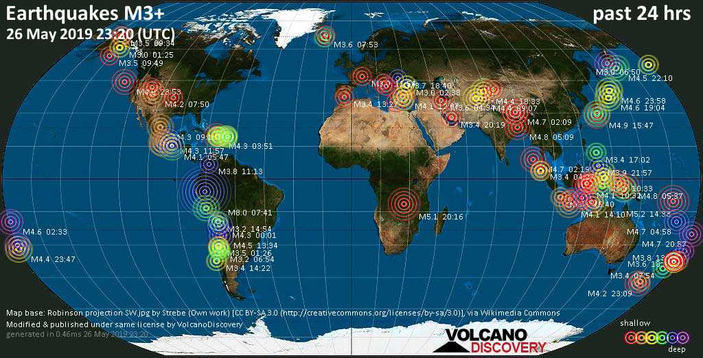 World map showing earthquakes above magnitude 3 during the past 24 hours on 26 May 2019