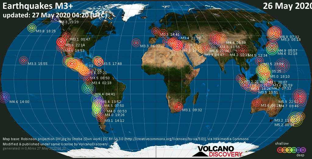 World map showing earthquakes above magnitude 3 during the past 24 hours on 27 May 2020