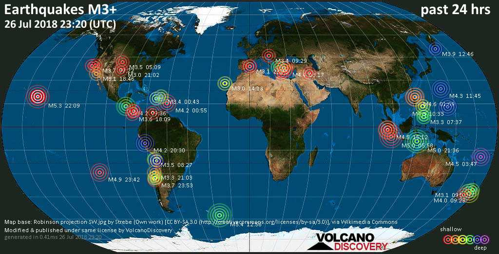 World map showing earthquakes above magnitude 3 during the past 24 hours on 26 Jul 2018