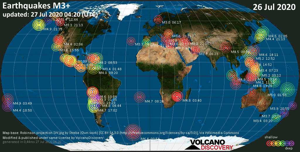 World map showing earthquakes above magnitude 3 during the past 24 hours on 26 Jul 2020