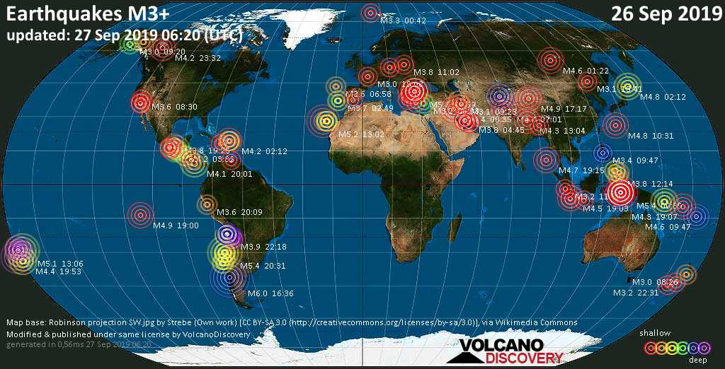 World map showing earthquakes above magnitude 3 during the past 24 hours on 27 Sep 2019