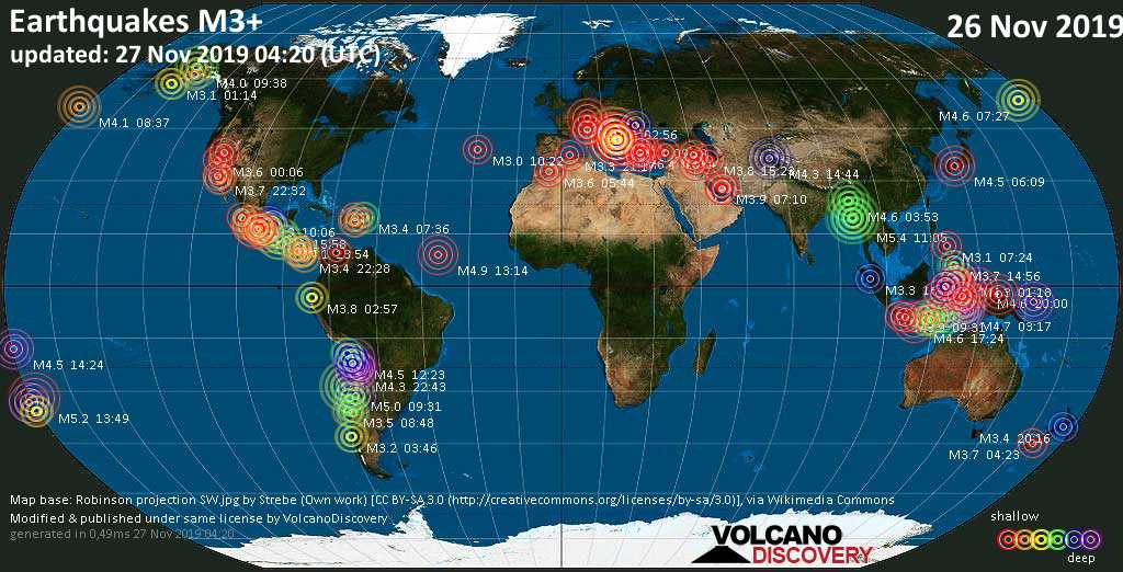 World map showing earthquakes above magnitude 3 during the past 24 hours on 27 Nov 2019