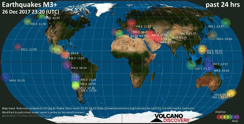 World map showing earthquakes above magnitude 3 during the past 24 hours on 26 Dec 2017