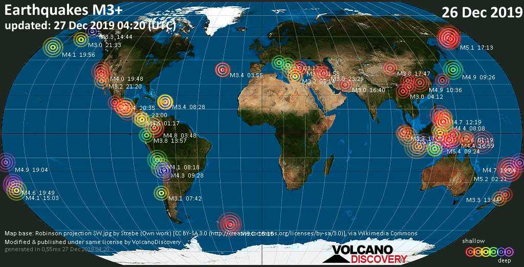 World map showing earthquakes above magnitude 3 during the past 24 hours on 27 Dec 2019