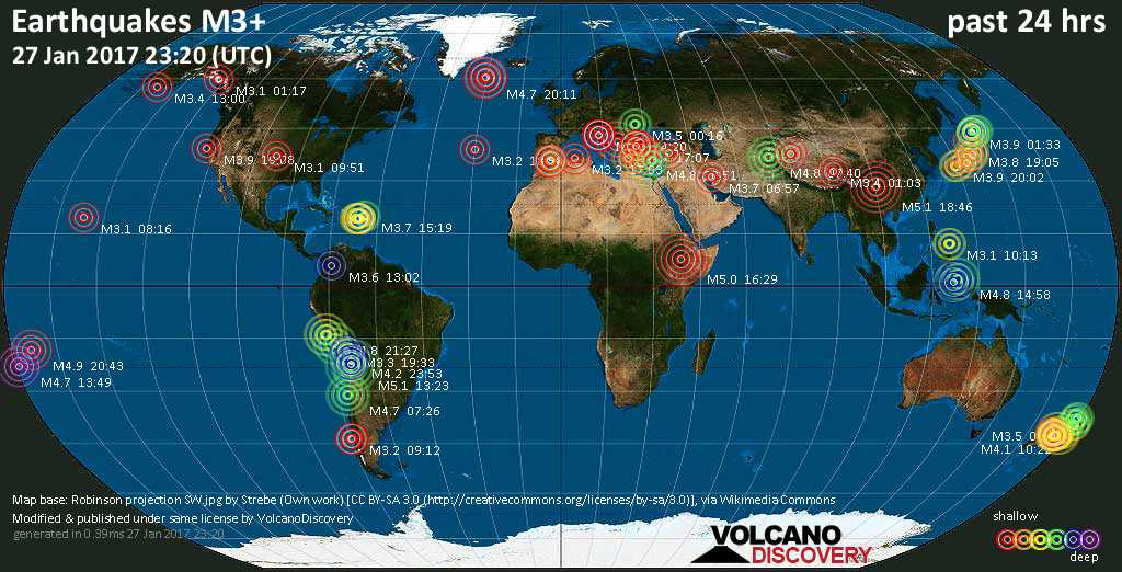 World map showing earthquakes above magnitude 3 during the past 24 hours on 27 Jan 2017