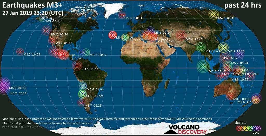 World map showing earthquakes above magnitude 3 during the past 24 hours on 27 Jan 2019