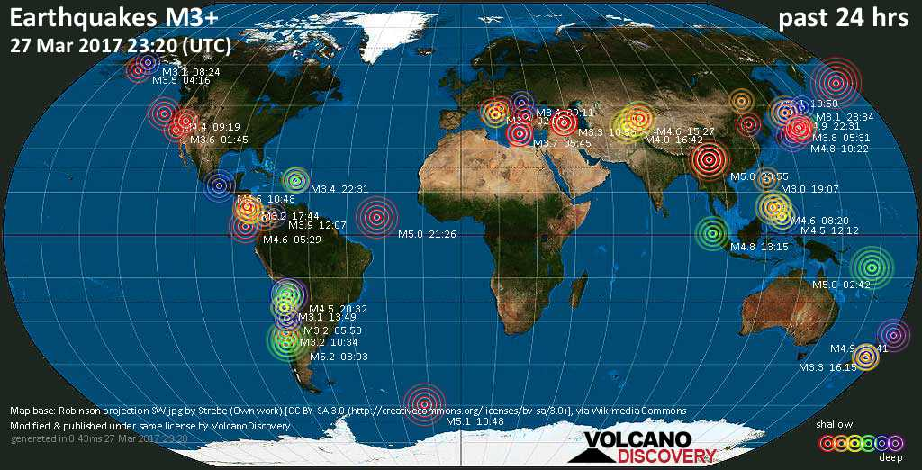 World map showing earthquakes above magnitude 3 during the past 24 hours on 27 Mar 2017