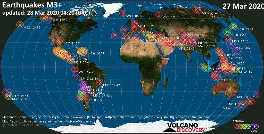 World map showing earthquakes above magnitude 3 during the past 24 hours on 28 Mar 2020