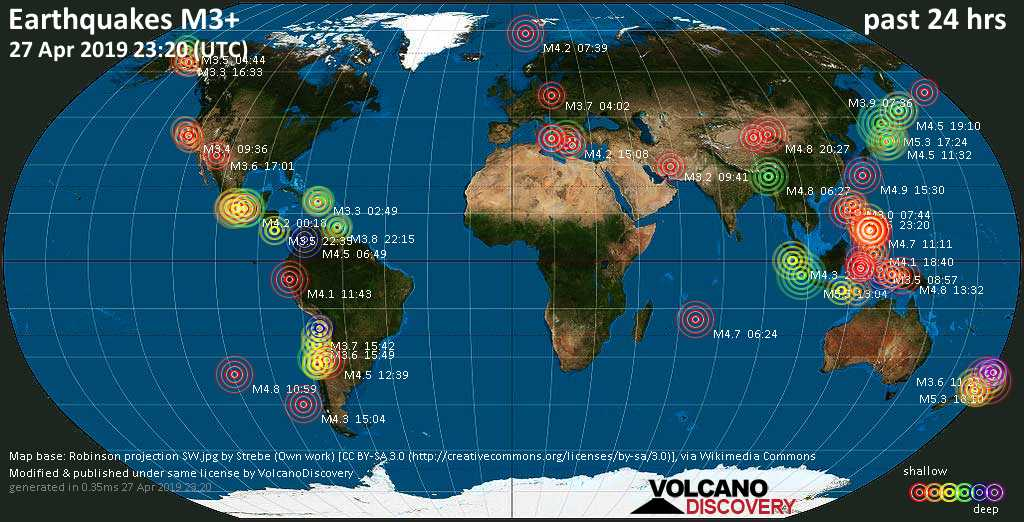 World map showing earthquakes above magnitude 3 during the past 24 hours on 27 Apr 2019