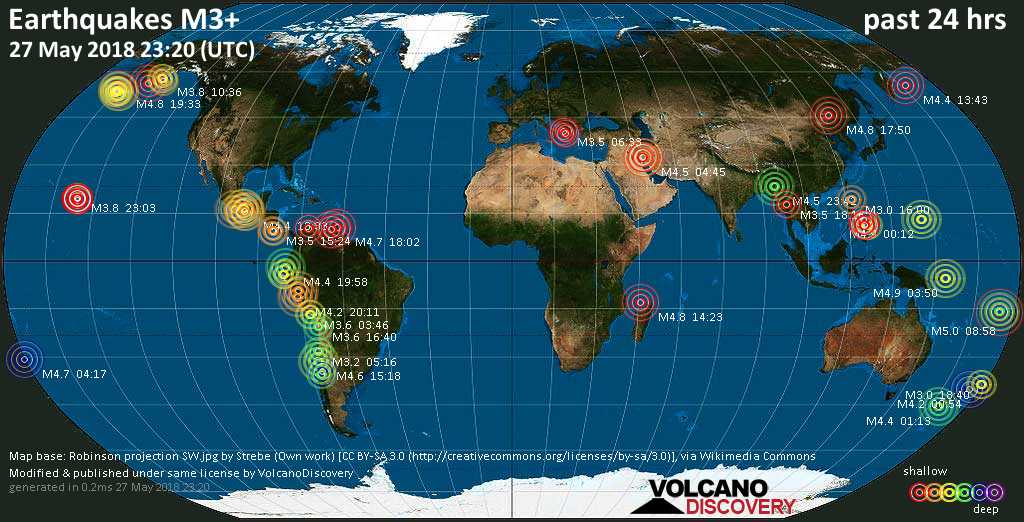 World map showing earthquakes above magnitude 3 during the past 24 hours on 27 May 2018