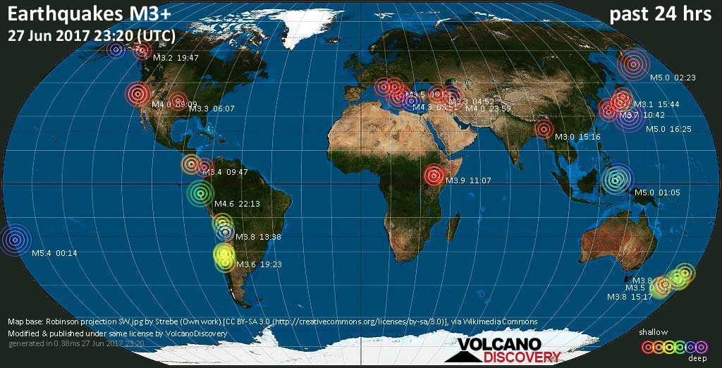 World map showing earthquakes above magnitude 3 during the past 24 hours on 27 Jun 2017