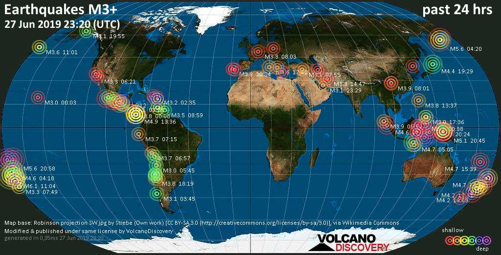 World map showing earthquakes above magnitude 3 during the past 24 hours on 27 Jun 2019