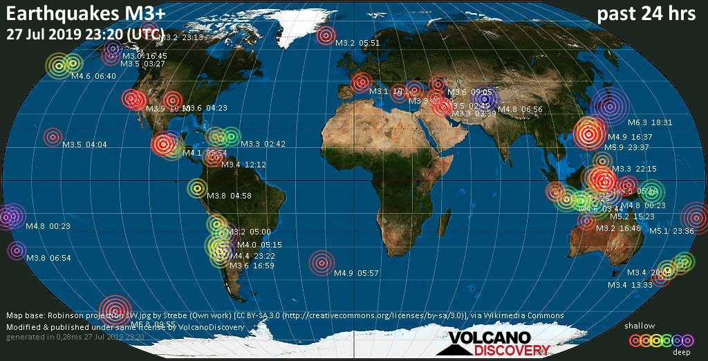 World map showing earthquakes above magnitude 3 during the past 24 hours on 27 Jul 2019