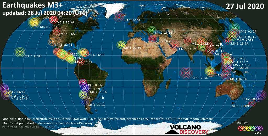 World Earthquake Report for Monday, 27 July 2020 / VolcanoDiscovery