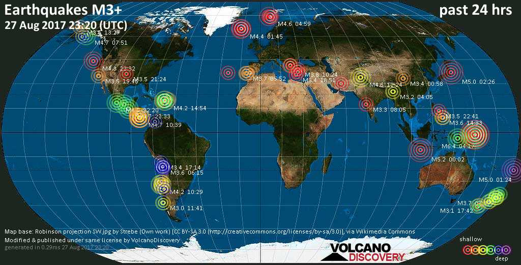 World map showing earthquakes above magnitude 3 during the past 24 hours on 27 Aug 2017