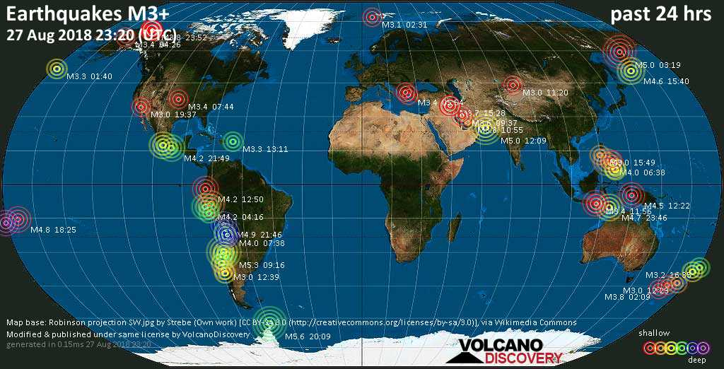 World map showing earthquakes above magnitude 3 during the past 24 hours on 27 Aug 2018