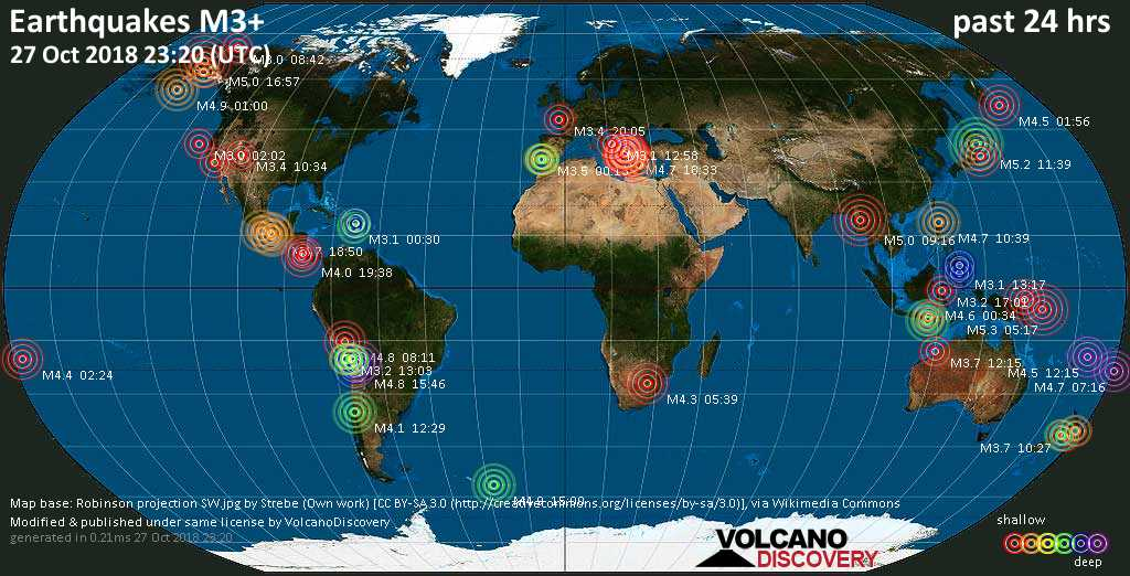World map showing earthquakes above magnitude 3 during the past 24 hours on 27 Oct 2018
