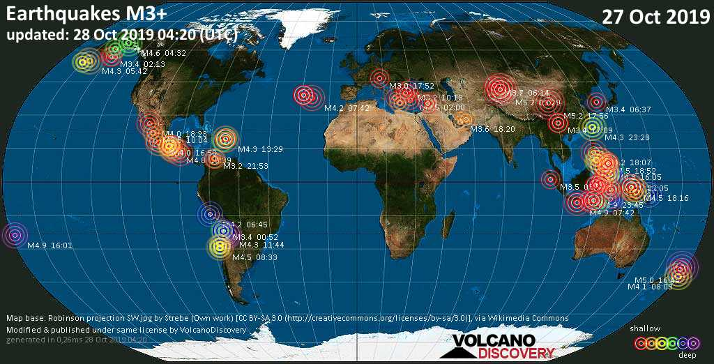 World map showing earthquakes above magnitude 3 during the past 24 hours on 28 Oct 2019