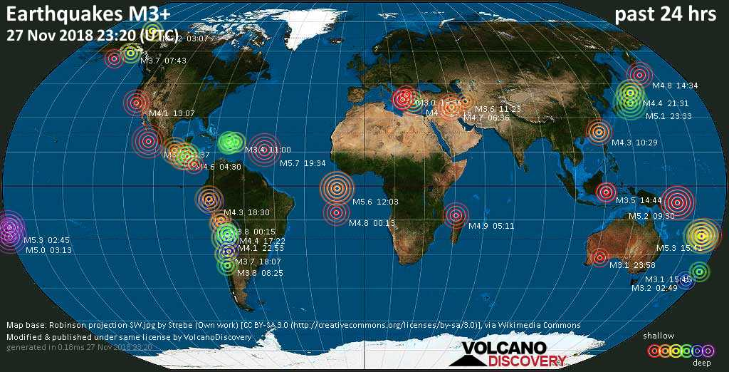World map showing earthquakes above magnitude 3 during the past 24 hours on 27 Nov 2018