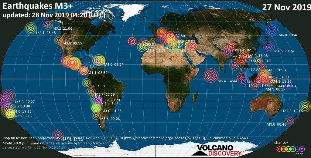 Mapa mundial que muestra terremotos de magnitud 3 en las últimas 24 horas 28 noviembre 2019